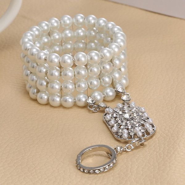 Al por mayor-joyería nupcial regalo de Navidad de Bella moda popular La gran perla Gatsby nupcial pulsera con conjunto de brazalete para mujeres