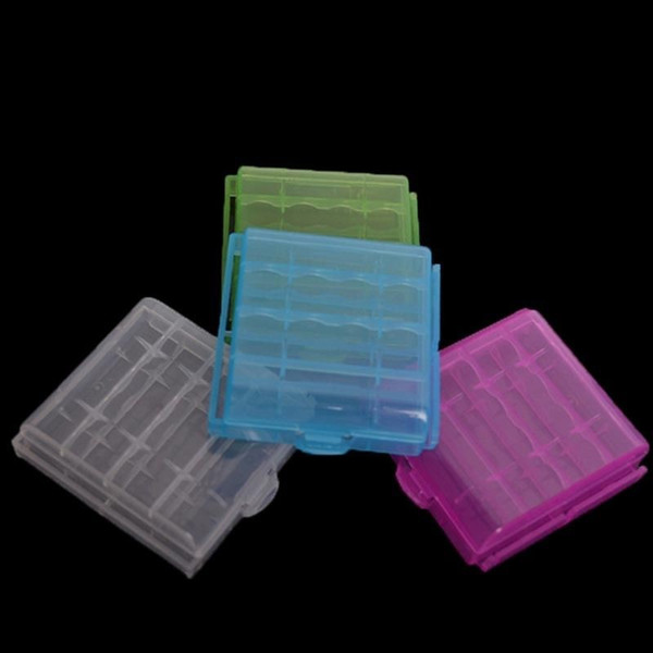 100pcs/lot Hard Plastic Case Holder Storage Box Battery Storage Boxes For AA AAA Battery 4 colors Free Shipping
