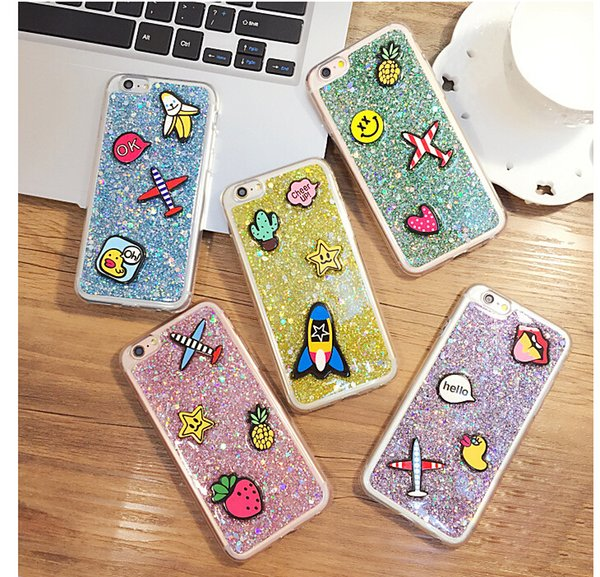 Diy Cell Phone Cases Small Cute Stickers On The Case Bling Glitter Aircraft Fruits Cover For Apples Iphone 6s 6splus 6plus New Accessory Unique Cell