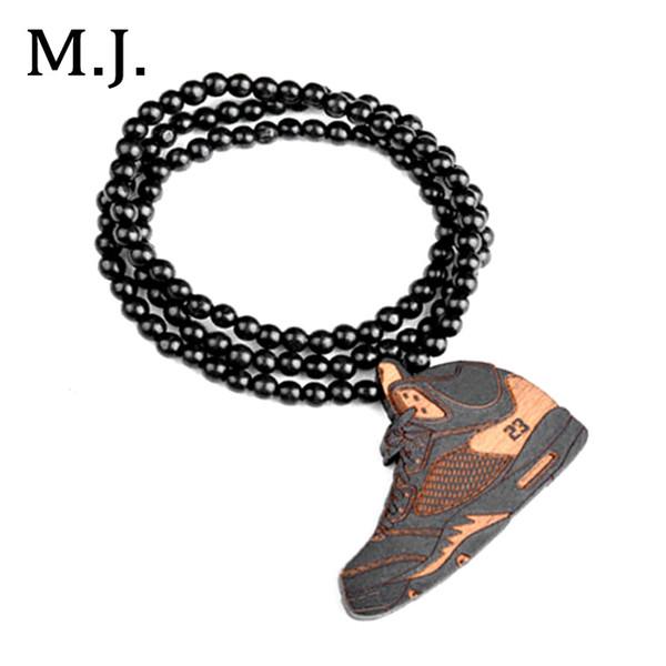 Fashion Colares Bijuterias Hip Hop Wood Basketball Shoe Pendant Necklace Men Boho Beads Long Chain Shoes Necklace Collar Jewelry