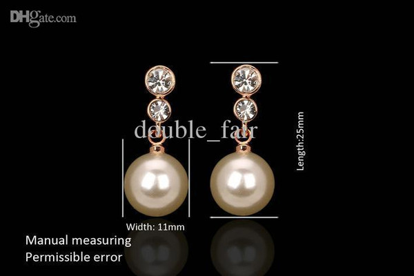 Bowknot Imitation Pearl Beads CZ Diamond Vintage Earrings 18K Gold Plated Crystal Fashion Brand Jewelry/Jewellery For Women DFE326