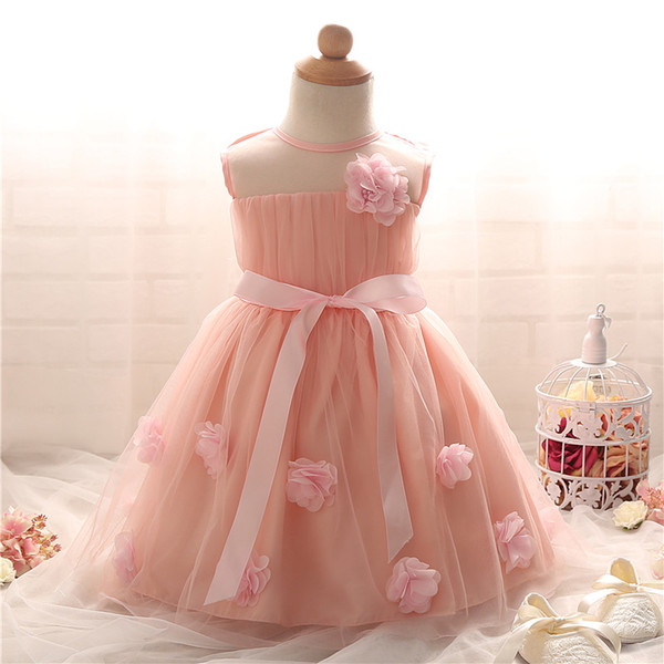 2018 Wholesale Flower Baby Dresses For Girl Wedding Baby Girl 1 2