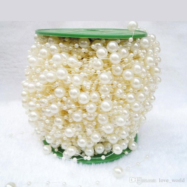 DHL Christmas Pearl Garland 200ft Beaded Pearl Strings Pearl Strands Ivory Bead Garland Pearls for Crafts Christmas Tree Decor
