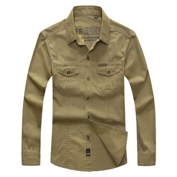 Men Clothing 2016 military quality men's casual brand army green shirts man autumn 100% cotton khaki black long shirt