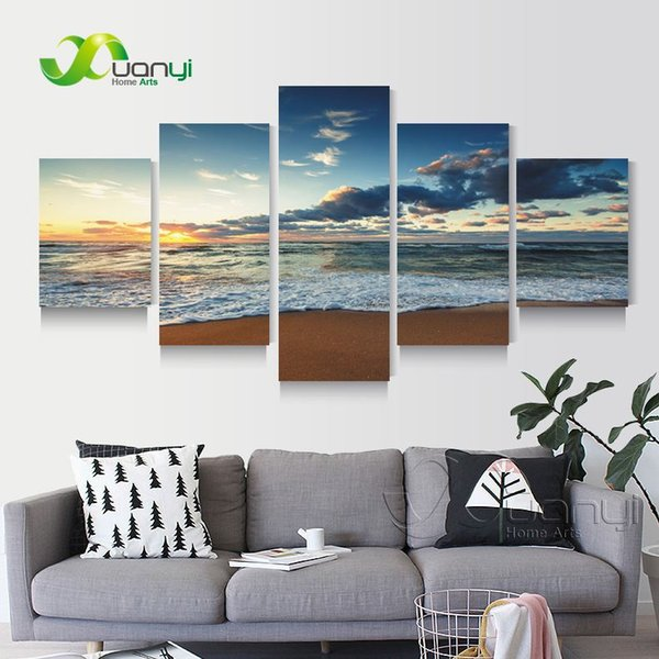 5 Panel Seascape Sunset Oil Painting Cuadros Beach Canvas Art Home Wall Picture For Living Room Modern Printing Unframed PR1273