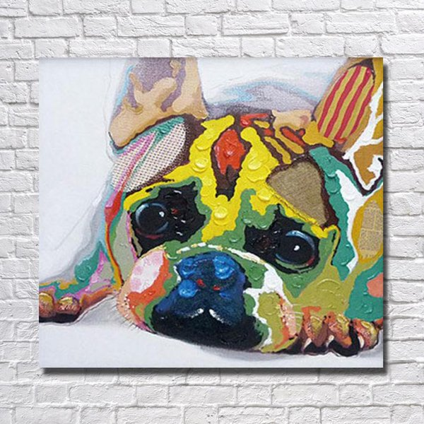 2016 newest design hand drawing modern abstract dog oil painting for kid room decor canvas wall pictures for bedroom