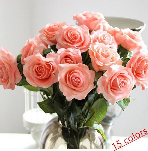 top popular wholesale 15 colors Decor Rose Artificial Flowers Silk Flowers Real Touch Rose Wedding Bouquet Home Party Design Flowers bride bouquet 2021