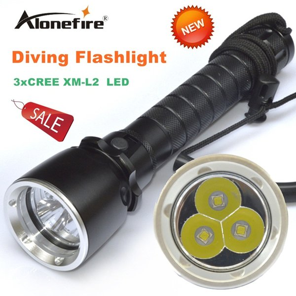 Alonefire DV20 CREE XML L2 LED 3000 Lumen 50-60 meters Underwater Diving diver 18650 Flashlight Torch Light Lamp Waterproof