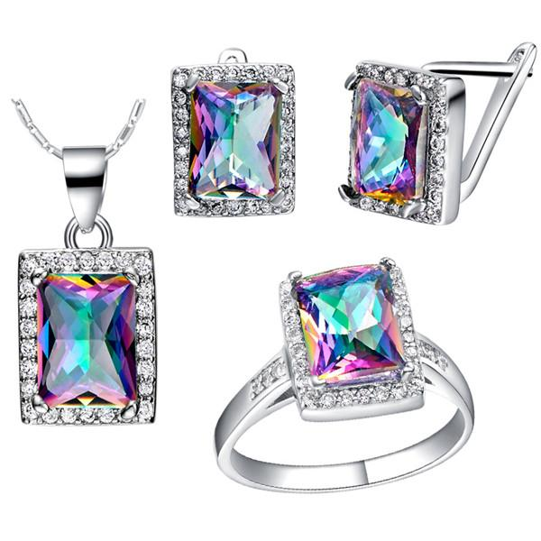 4PCS/SET 3ct Natural Mystic Fire Rainbow Topaz Engagement Wedding Jewelry Set Women Genuine 925 Sterling Silver 2016 New Fine Jewelry Hot