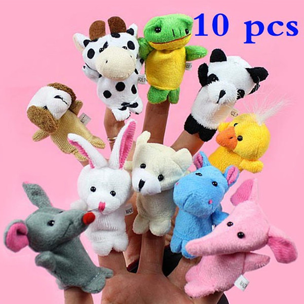 best selling 10pcs lot Baby Stuffed Plush Toy Finger Puppets Tell Story Animal Doll Hand Puppet Kids Toys Children Gift With 10 Animal Group HH7-92