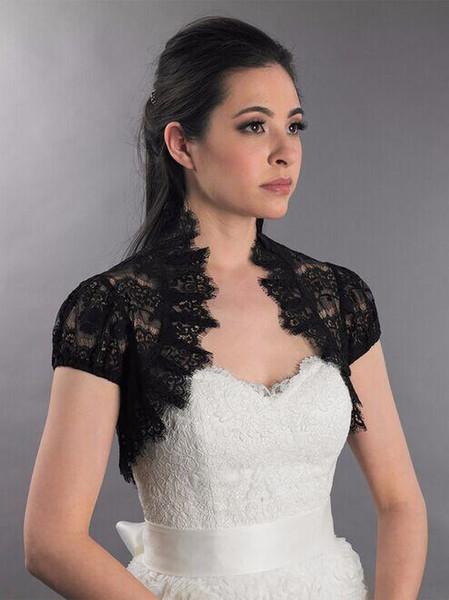 Black Lash lace Shrugs Bolero Jackets for Evening Dresses Bridal Jackets Cap Sleeves Lace Bride Capes Party Wraps Wedding Accessories