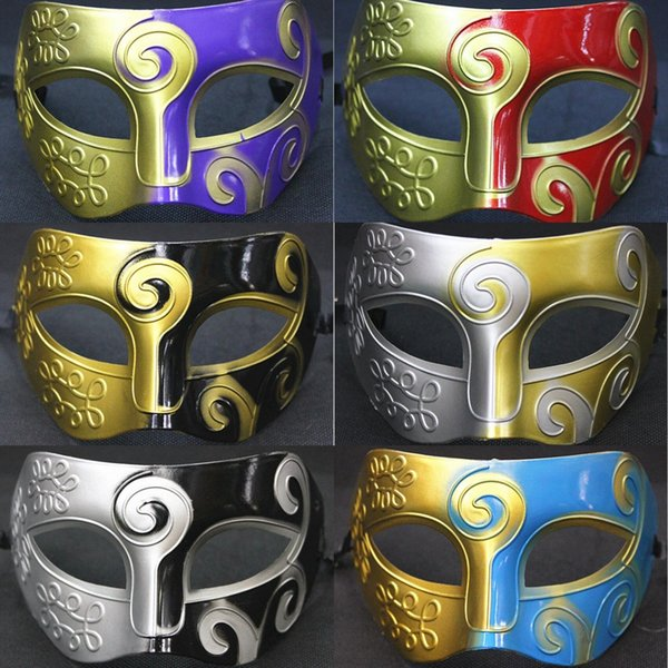 Men Fashion Spray Paint Party Carnival Masks Prince Jazz Performance Masquerade Masks Halloween Party Upper Half Face PVC Masks