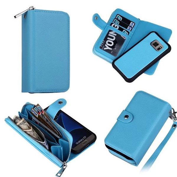 25pcs Business Lichi pattern leather wallet cover For Samsung Galaxy S7 edge Case Flip with card hoder stand Cover Book Style Cover handbag
