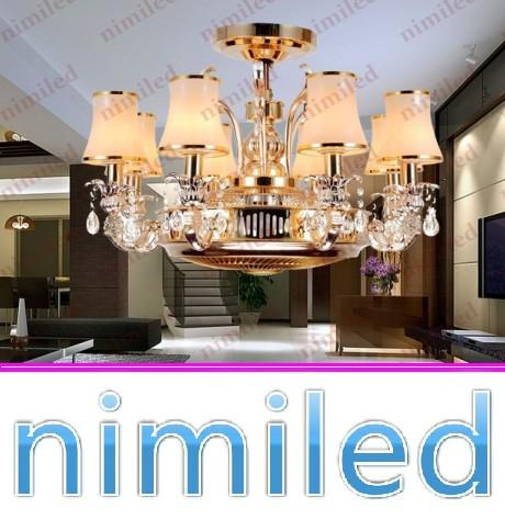 top popular nimi838 Dia 85*H53cm 8-Lights Invisible Rose Gold Zinc Alloy Restaurant Living Room Ceiling Fan Lights Crystal Chandelier Anion Pendant Lamp 2021