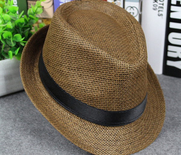 best selling Free Shipping Men and Women Panama Straw Hats Fedora Stingy Brim Hats Soft Hat For Unisex 8 Colors Summer Sun Beach Caps Linen Jazz Hats