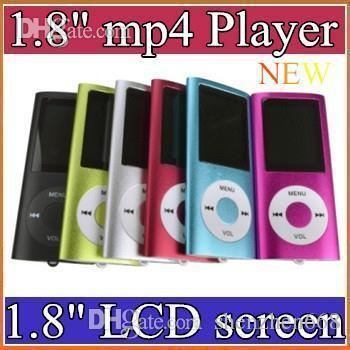 best selling DHL 100PCS 1.8 inch Screen 4th mp3 mp4 Player with card slot FM radio Voice Recorder 6 colors B-MF