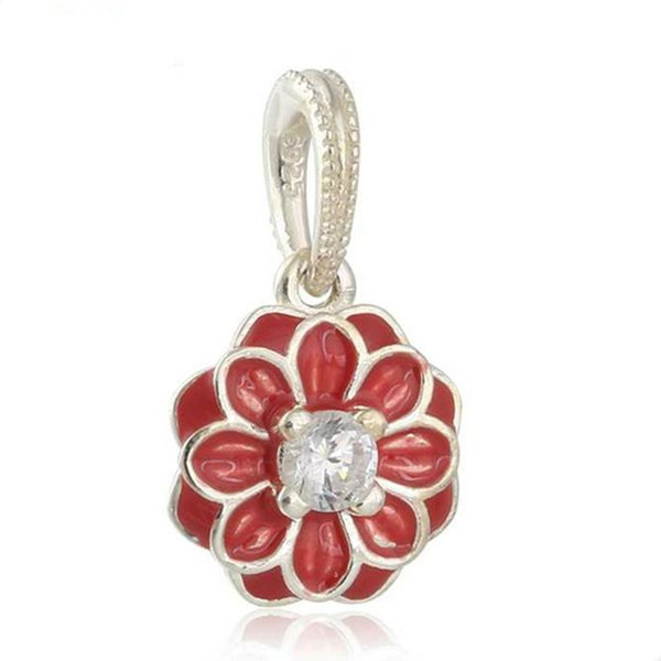 Fit Original Brand Bracelet Authentic 925 Sterling Silver beads Oriental Bloom Dangle with Red Enamel Charm Women Jewelry Accessories