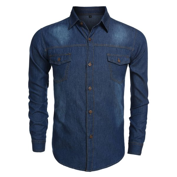 Wholesale- Men Casual Cool Long Sleeve Turn-down Collar Jean Shirt Thin Coat