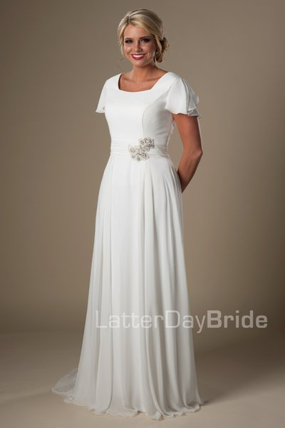 Ivory Long Chiffon Modest Beach Wedding Dresses With Cap Sleeves Square A-line Informal Bridal Gowns Temple Wedding Gowns New on Sale
