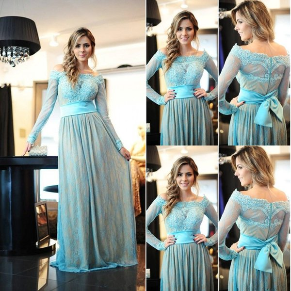 Eleant Long Sleeve Sky Blue Lace Evening Gown Off The Shoulder Overlay Floor Length Women Formal Party Pageant Mother Of Bride Gowns Cheap