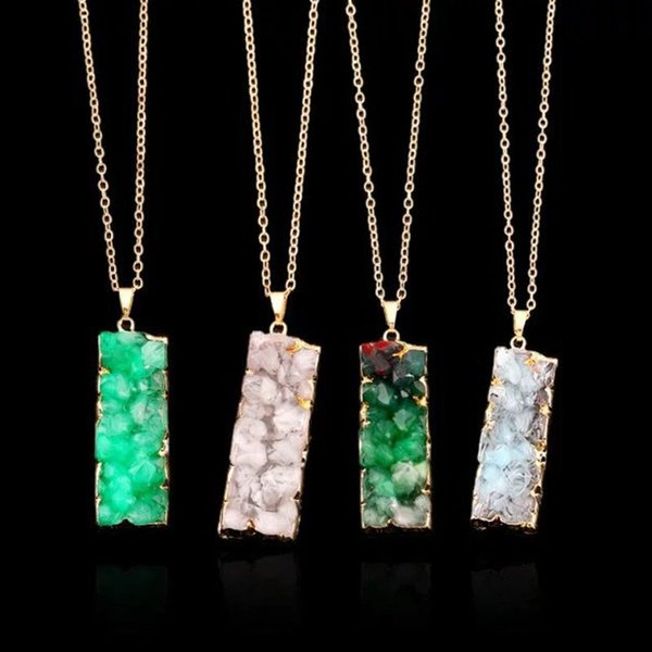 Europen and American rectangle shape stone couple pendant necklaces five colors link chain charms pendants jewelry accessories for women