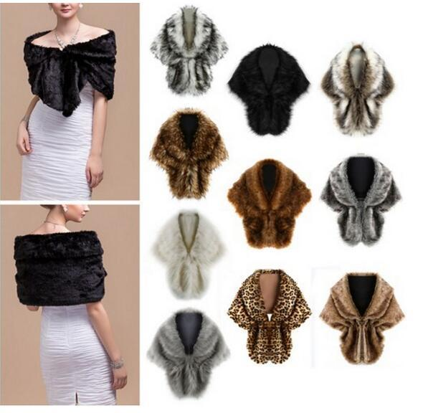 best selling 2019 Cheap Bridal Shawl Cloak Fake Faux Fur Hollywood Glamour Wedding Jackets Hot Selling Cover up Cape Stole Coat Bolero