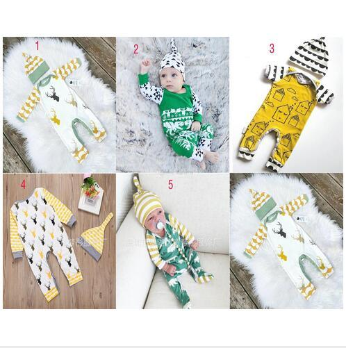 top popular New Christmas Baby Romper long-sleeve cartoon Christmas deer Jumpsuits kids dinosaur Bear climbing clothing with hat L001 2019