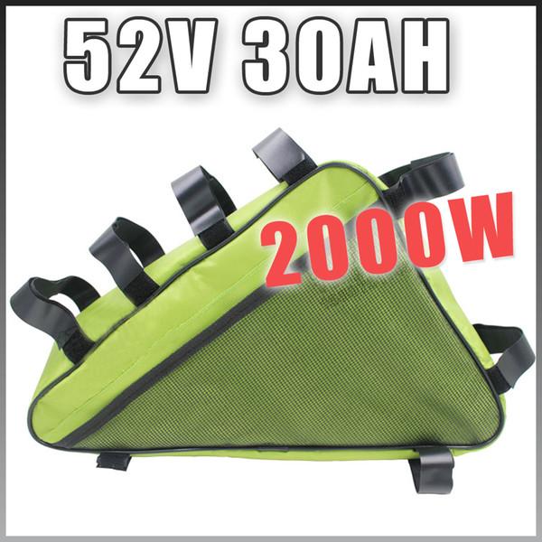 E BIKE 52V 30AH batterie électrique au lithium vélo triangle vie longue batterie compatible 48V gratuit US Customs UE RU
