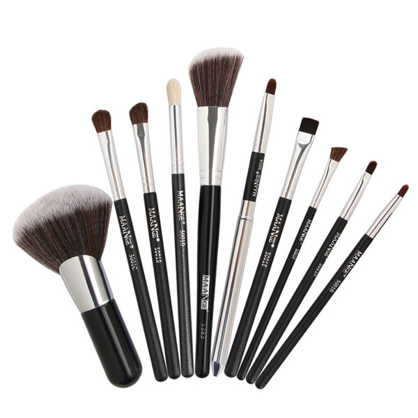 10pcs/set Makeup Brushes Set Blush Powder Eyeshadow Eyebrow Eyeliner Eyelash Concealer Lip Horse Hair Blending Make Up Cosmetic Brush Tool