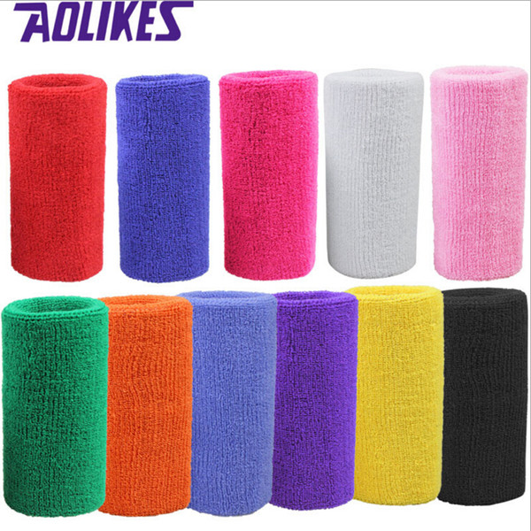 Wholesale-1 pc 15*7.5 cm terry cloth wristbands sport sweatband hand band for gym volleyball tennis sweat wrist support brace wraps guards