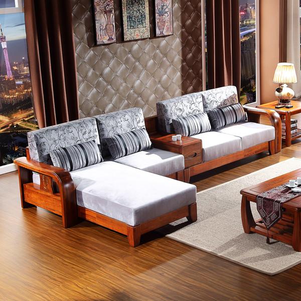 2018 Modern Chinese Style Nanmu Wood Sofa Corner Cloth Art Sofa