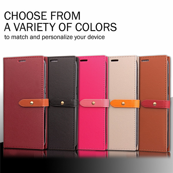 Premium PU Leather Flip Fold Wallet Case with ID Credit Card Slot for Apple iPhone 5 6 6S 7 8 X Plus