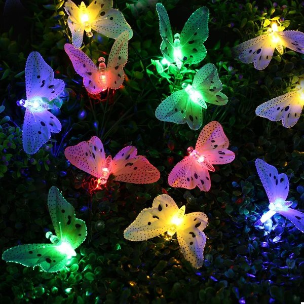 12 LED Multi Color Butterfly Solar String Lights Fiber Optic Decorative  Outdoor Lighting For Garden Patio