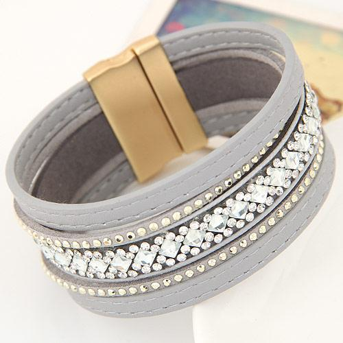 High End Retro Vintage Fashion Jewelry Rhinestone Geometric Wrist Accessories Lodestone Magnet Leather Bracelets Multilayer Bangles Lover