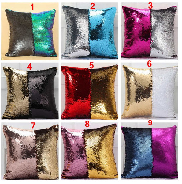top popular 36 colors Double Sequin Pillow Case cover Glamour Square Pillow Case Cushion Cover Home Sofa Car Decor Mermaid Christmas Pillow Covers 2019