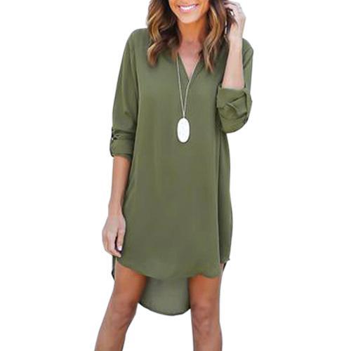 3XL kadın Dalma Boyun Şifon Elbise Uzun Kollu Casual Tunik Gömlek Elbise Düzensiz Ön Kısa Vestidos LX015