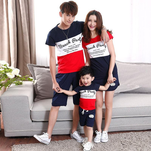 top popular summer fashion short-sleeve striped T-shirt + short matching family clothing set for mother daughter and father son family look Set 2019