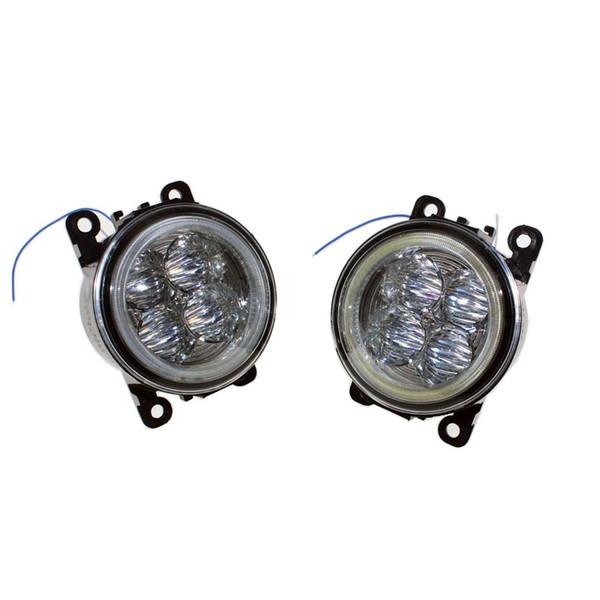 For Peugeot 207 SW Estate WK_ 2007-2012 Car Styling Bumper Angel Eyes LED Fog Lamps DRL Daytime Running Fog Lights OCB Lens