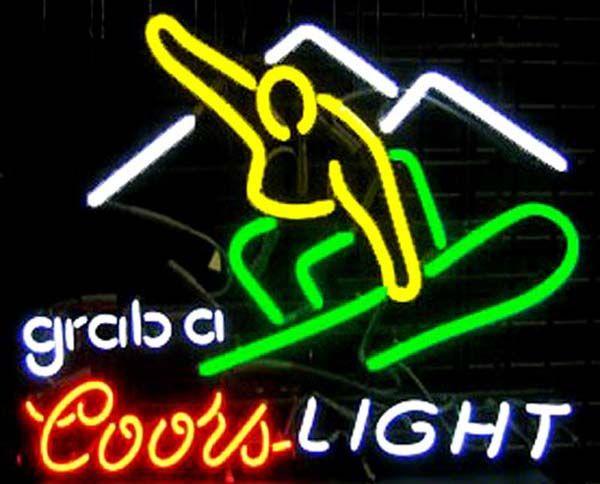 "Coors Light Snowboarder Neon Sign Custom Handmade Real Glass Tube Beer Bar Disco KTV Club Pub Motel Advertising Display Neon Signs 19""X15"""