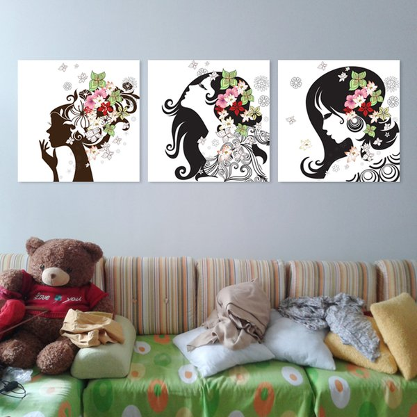 Free shipping 3 Pieces no frame art picture Home decoration on Canvas Prints Abstract flower woman tree Bamboo Red rose fish Lotus leaf