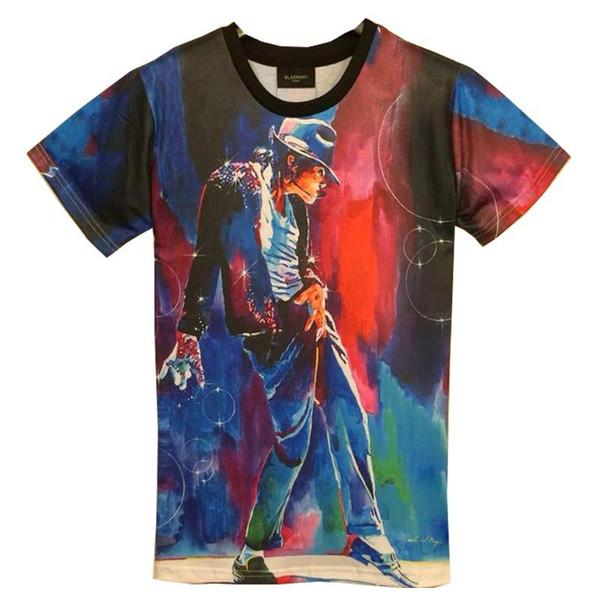 tshirt T-shirt 3d de la mode des hommes nouveaux imprimer le roi du rouleau de roche Michael Jackson 3d t-shirt pour les hommes / garçon T-shirt Asie M / L / XL / XXL HT8