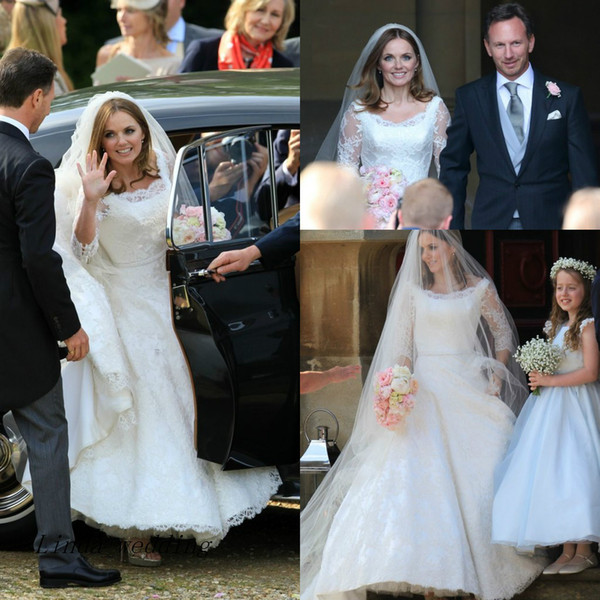 Free Shipping STUNNING Geri Halliwell Best Celebrity Wedding Dresses High Quality Lace Formal Bridal Party Gowns