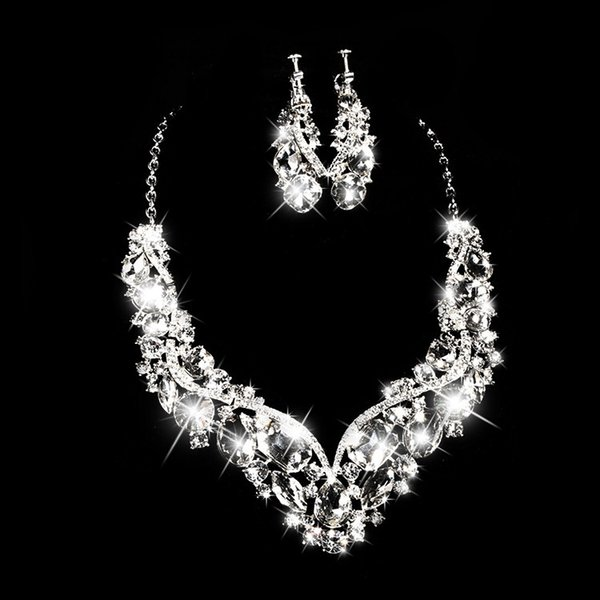 Romantic Heart-shaped Rhinestone Bridal Necklace Earrings Jewelry Two Pieces Of Bridal Ornaments 2018 Bridal Accessories Necklace Earrings