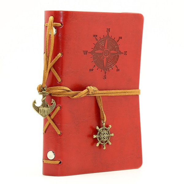 Leather Writing Journal Notebook Vintage Nautical Spiral Blank 6 Ring Binder String Daily Notepad Travel to Write Red