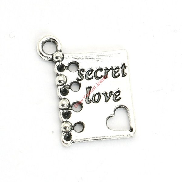 20pcs Antique Silver Plated Secret Love Book Charms Pendants for Bracelet Jewelry Making DIY Necklace Craft 15X12mm