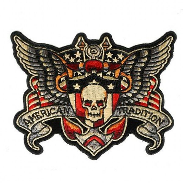 Hot Sale Skeleton Wing MC Patch Handmade Embroidered Iron On Motorcycle Patches Applique Punisher Skull Free Shipping