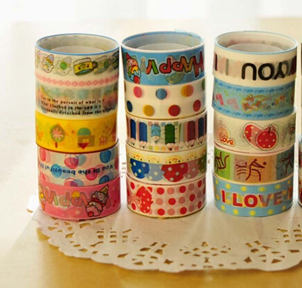 top popular 30pcs lot free shipping fashion stationery small cartoon tape colorful adhesive tape Office School Supplies Students Prizes 2016 2019