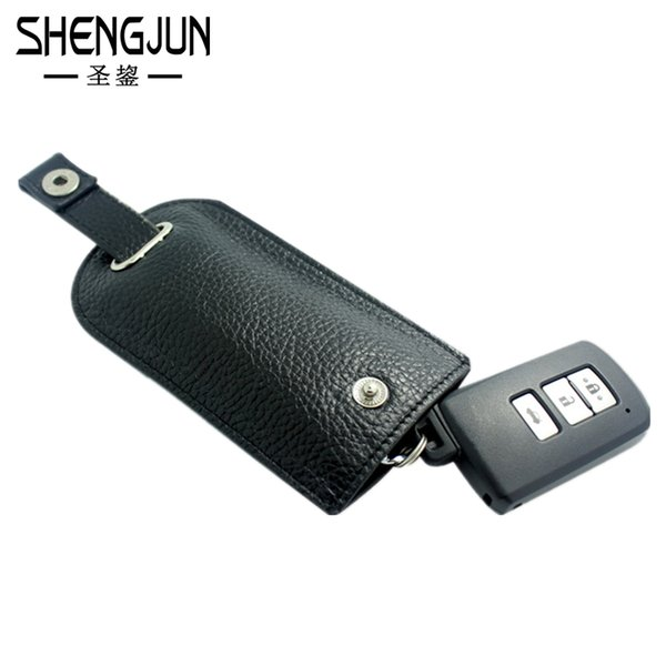 Wholesale-High Quality Cow Leather Key Wallet Auto Car Keys Cases Men Real Leather Hasp Key Holder Women Housekeeper Key Pouch Bag YSB-019