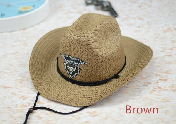 New Western Rodeo Cowboy Brown Straw Hat Studded Leather Bull Band Unisex Sun Beach Hat For Men Women 6pcs/lot Free shipping