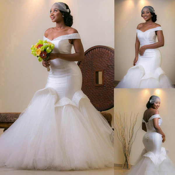 Aso Ebi estilo árabe Bellanaija Boda vestidos de novia de tul de lentejuelas Beads Plus Size sirena africana vestidos de novia Vestido De Novia